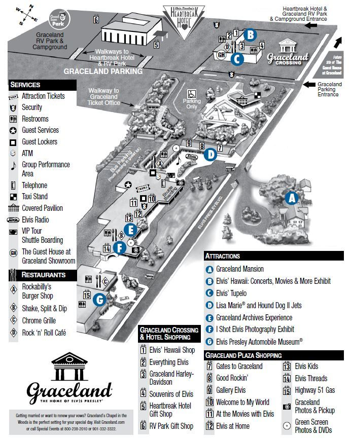 Graceland property map plan your visit elvis presley 39 s for Memphis plan