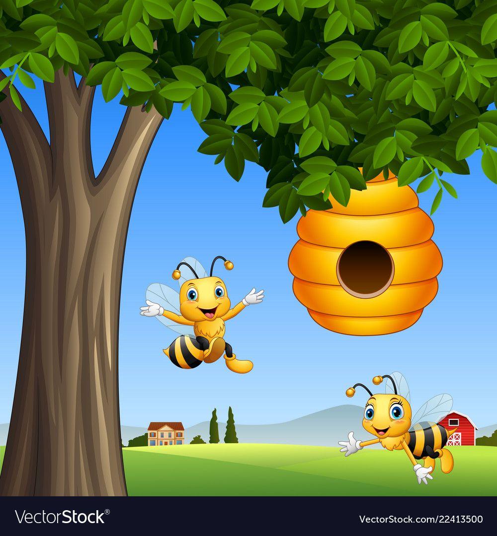 Cartoon Bees With Honey Under A Tree Vector Image On Vectorstock Cartoon Bee Bee Pictures Honey Bee Cartoon