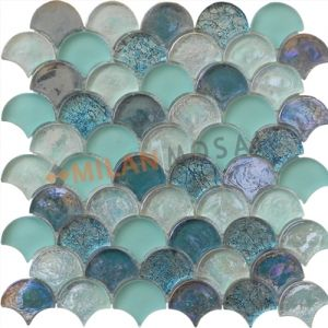 Fan Shaped Green Blue Gl Mosaics Tiles Bathroom Wall Mosaic Mg Fnp045