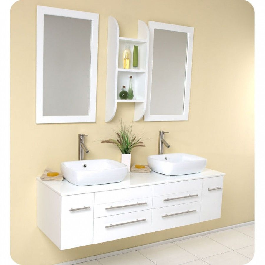 Fresca Bath Bellezza Modern Double Vessel Sink Bathroom Vanity Fvn6119 White Vanity Bathroom Contemporary Bathroom Vanity Bathroom Interior Design