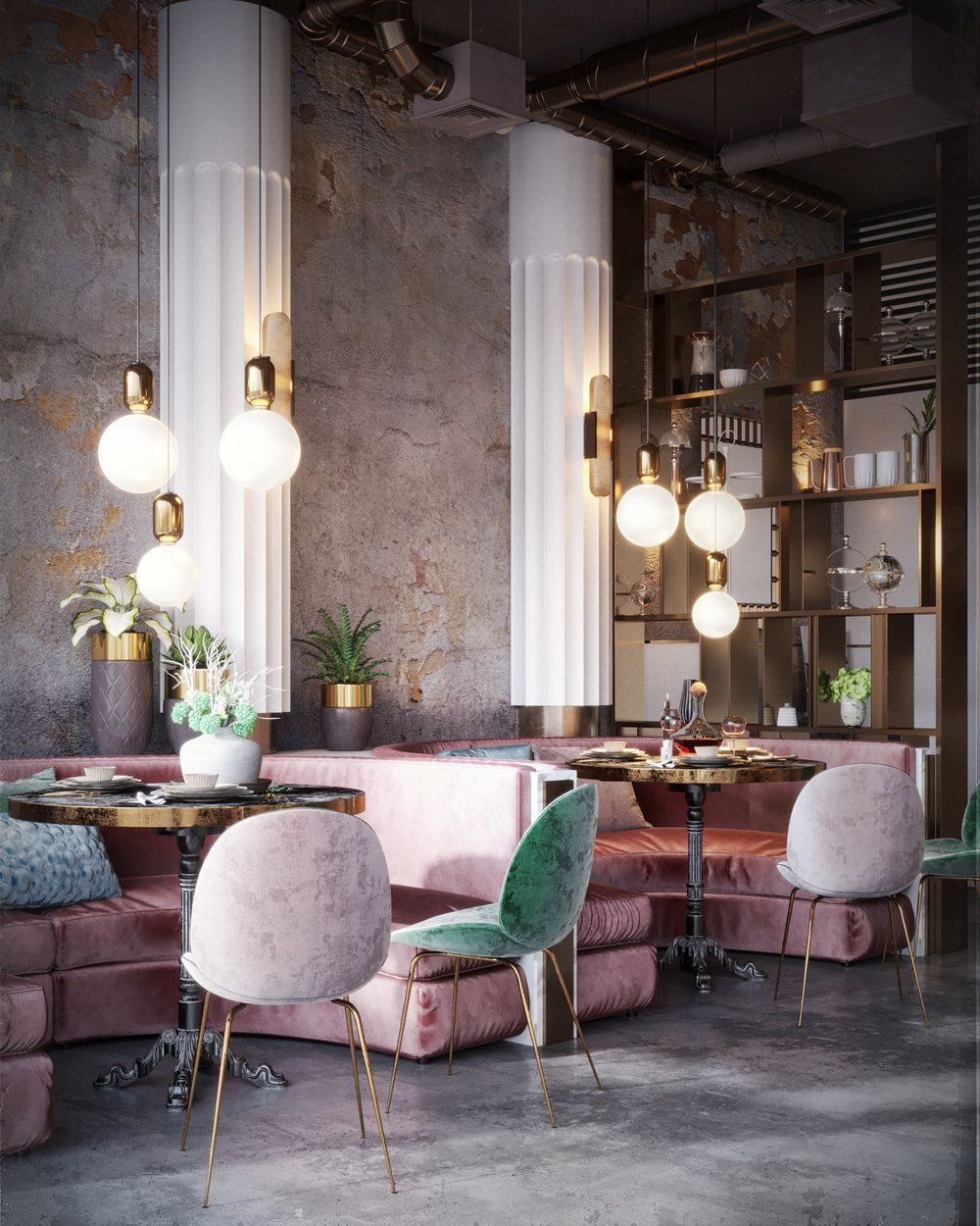 Wanderlusting contemporary restaurant design so pink