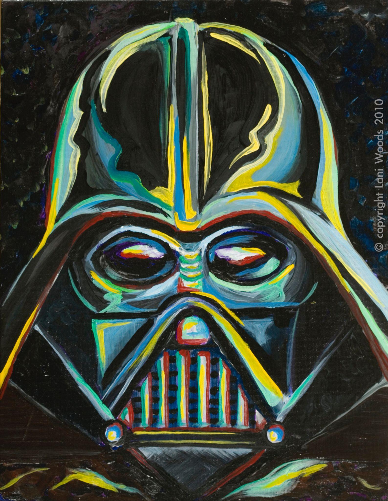 Darth Vader 11x14 Original Oil Painting By California Artist C Lani Woods