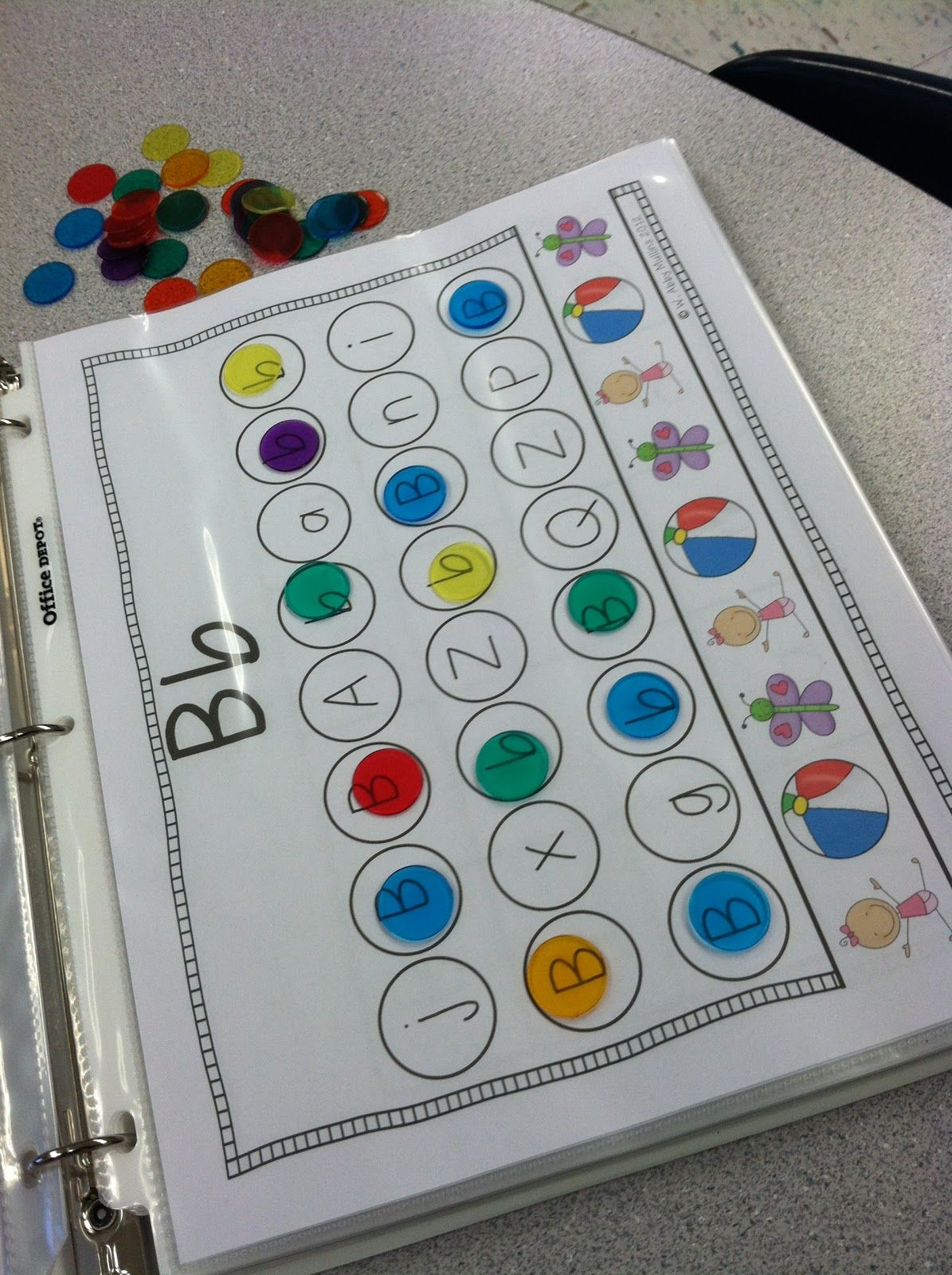 Letter identification.. A great idea! Using clear colored chips! It ...