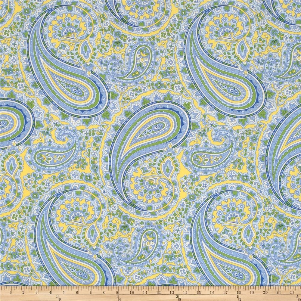 April Cornell Glorious Garden Patient Paisley Provence from @fabricdotcom  Designed by April Cornell for Free Spirit, this fabric is perfect for quilting, apparel and home decor accents. Colors include ivory, green, blue and yellow.