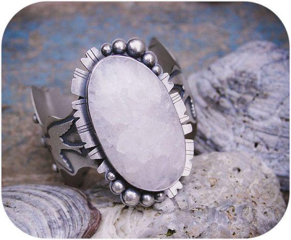 Gelid Cuff- A Chunky Quartz Druzy and Sterling Silver Bracelet // rosyrevolver