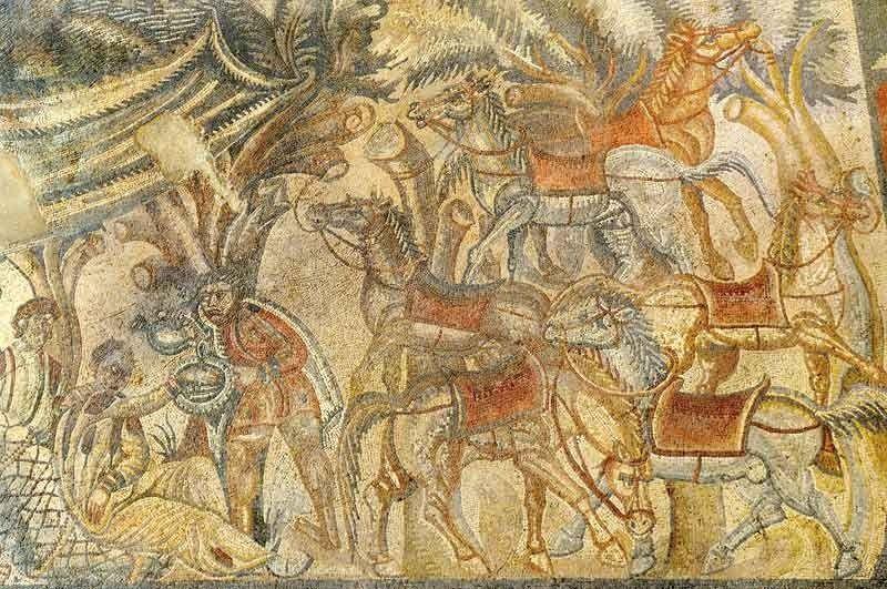 Mosaico dalla villa romana del Tellaro con un gruppo di cavalli - gardine für küche