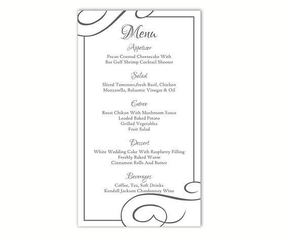 printable menu templates
