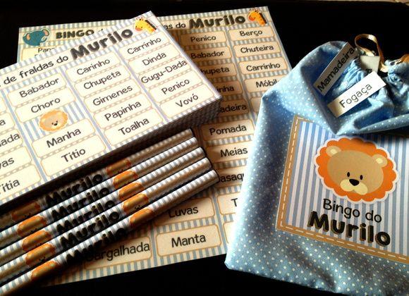 Kit de bingo para divertir seus convidados no Chá do Bebê.  Até 5 palavras personalizadas.  No kit, para cada pessoa, 1 lápis personalizado e 1 cartela.  Um saquinho com os nomes para sorteio e uma cartela para marcar as peças.    Consulte.