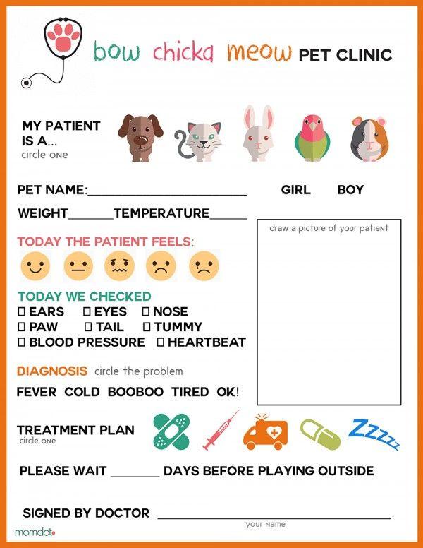 Free Printable Vet Office Pretend Play Sheet Vet office - printable sign in sheets for doctors office