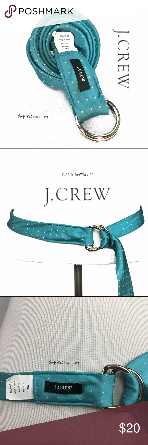 J. Crew turquoise blue silk polka dot belt Gorgeous J. Crew 100% silk fully adjustable turquoise blue belt with ivory polka dots. Size m/l. Great condition. J. Crew Accessories Belts