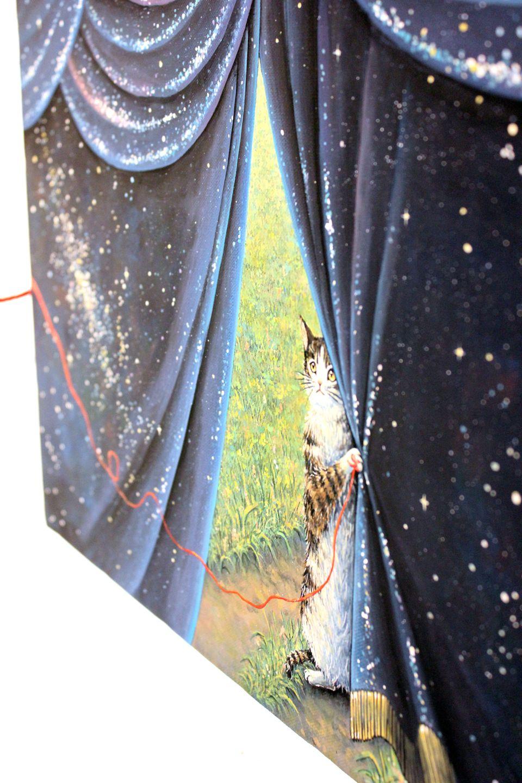 Gorgeous, fantastical painting by Yuki Takamura, with cat.  ねこが入っている高村ゆきさんのゴージャスでファンタジーな絵画。