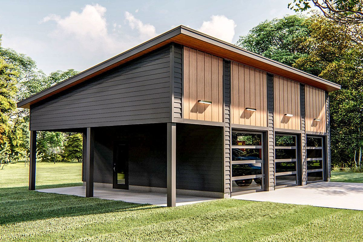 Lift Friendly Garage Plan With Carport Architectural Design