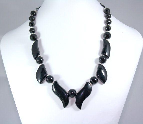 Elegant Black Onyx Necklace  Earring Set by thejewelstreet on Etsy, $85.00