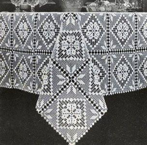 Motif Tablecloth Crochet Pattern Free : Filet Tablecloth crochet pattern from Fair, Bazaar and ...