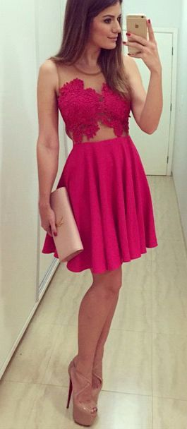 79fc3de9510c New A-Line Homecoming Dress Lace Pink Cocktail Dresses Short Prom ...