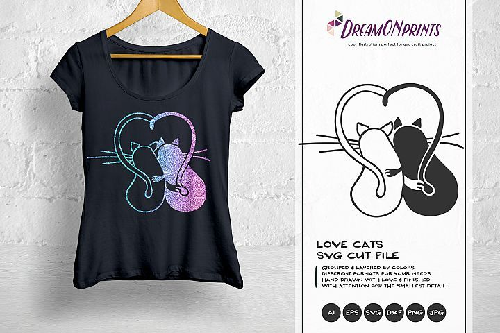 Download Love Cats SVG - Valentine Cat SVG, Couples SVG (195105 ...