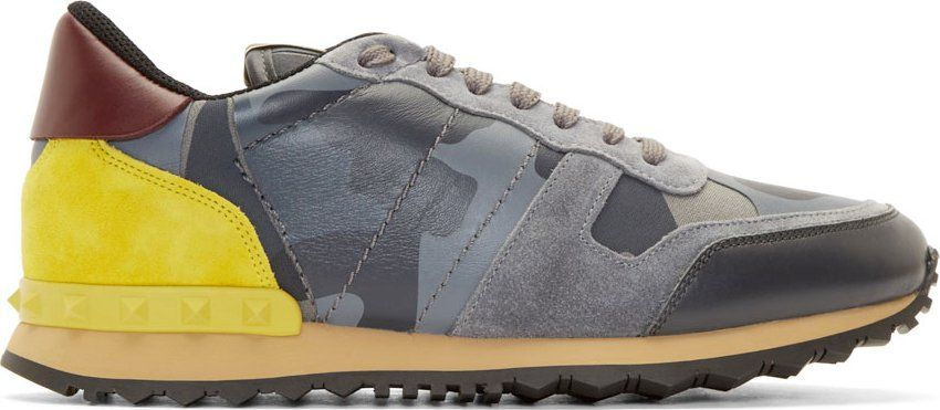 b72573b68672 Valentino Grey Suede  amp  Leather Camo Sneakers Valentino Clothing
