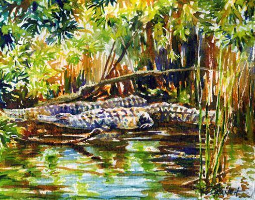 Alligators watercolor painting
