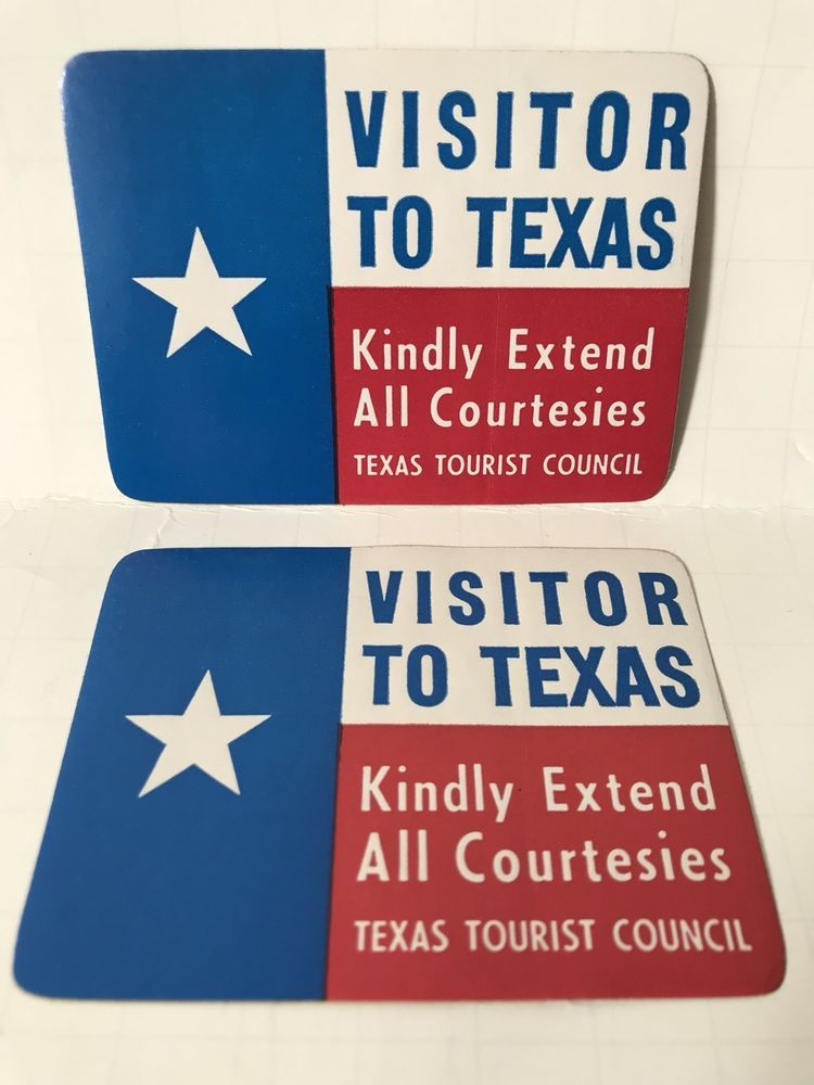 Vintage 2 Texas Flag Visitor To Stickers Tourist Council Name Badge Id