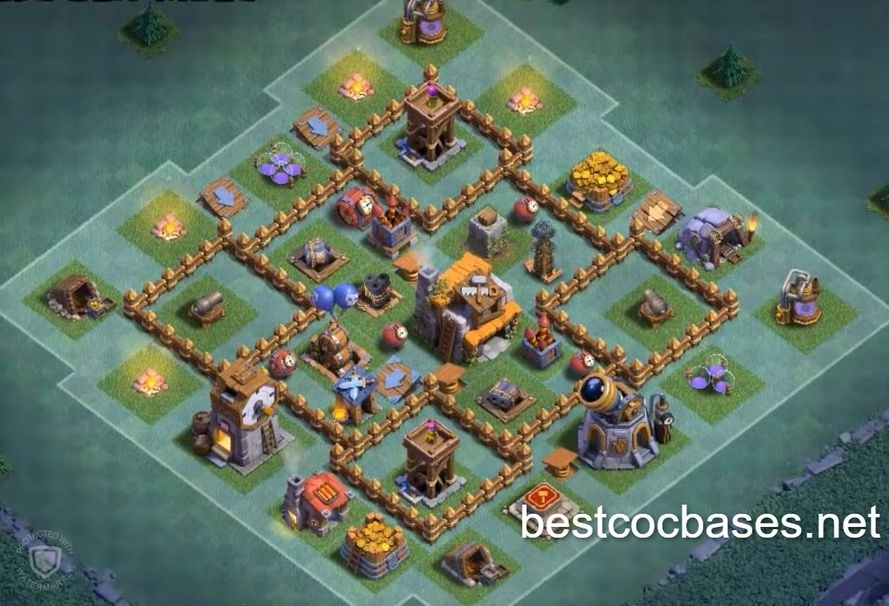 Builder Hall Level 5 Base Clash Of Clans Clash Of Clans Game Layout