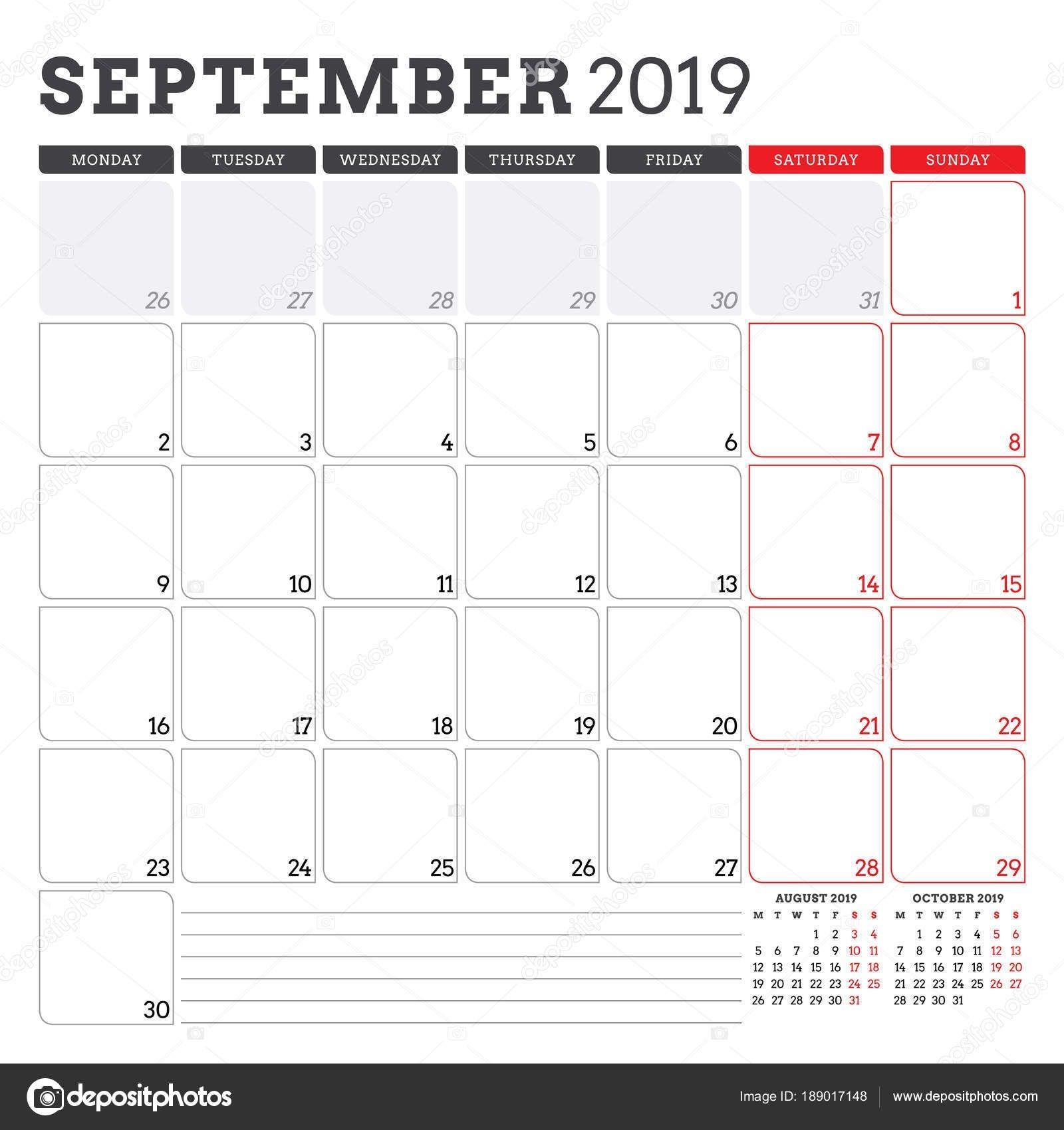 Calendar Planner For September 2019 Week Starts On Monday Dowload Free Calendar Template Calendar Template Yearly Calendar Template