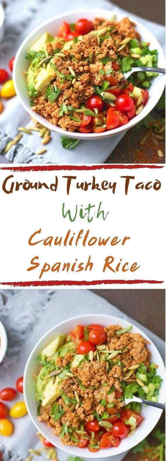 Ground Turkey Taco Bowls With Cauliflower Spanish Rice #healthy #lowcarb   - Hea...   - Rice Recipes - #Bowls #Cauliflower #Ground #Hea #HEALTHY #LowCarb #Recipes #Rice #Spanish #Taco #turkey #groundturkeytacos