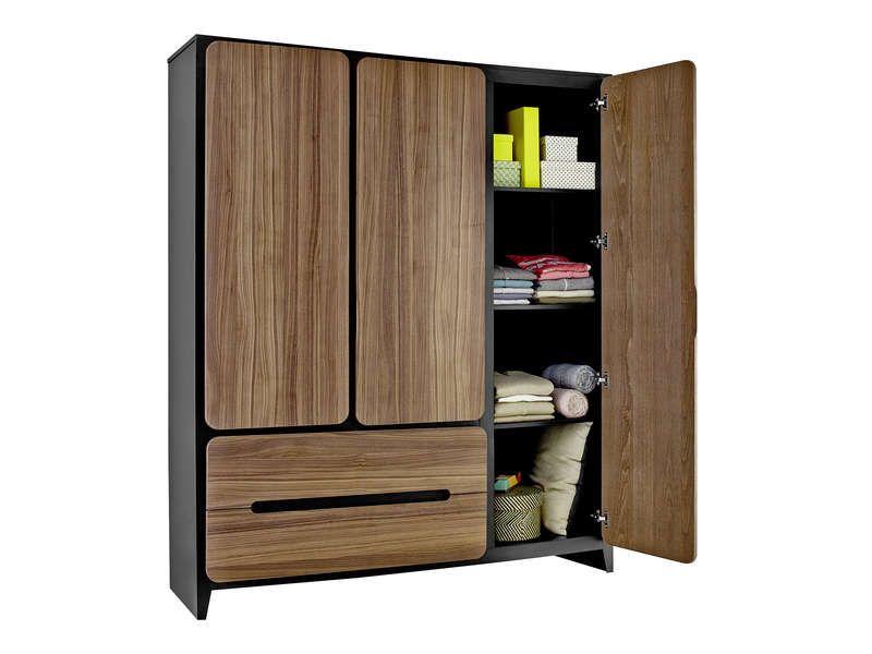 Armoire 3 portes + 2 tiroirs AMYOS pas cher prix Armoire Conforama - Conforama Meuble De Cuisine