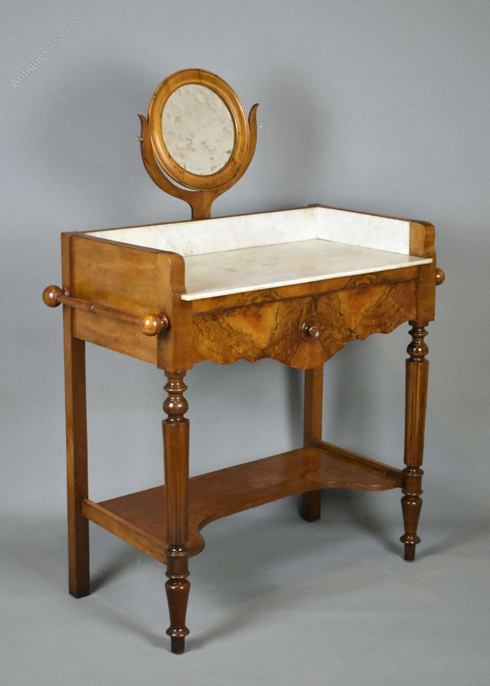 Antique French Walnut Washstand With