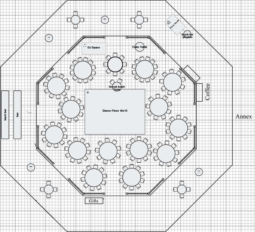 Floor plan of rounds including a sweetheart table near the dance ...