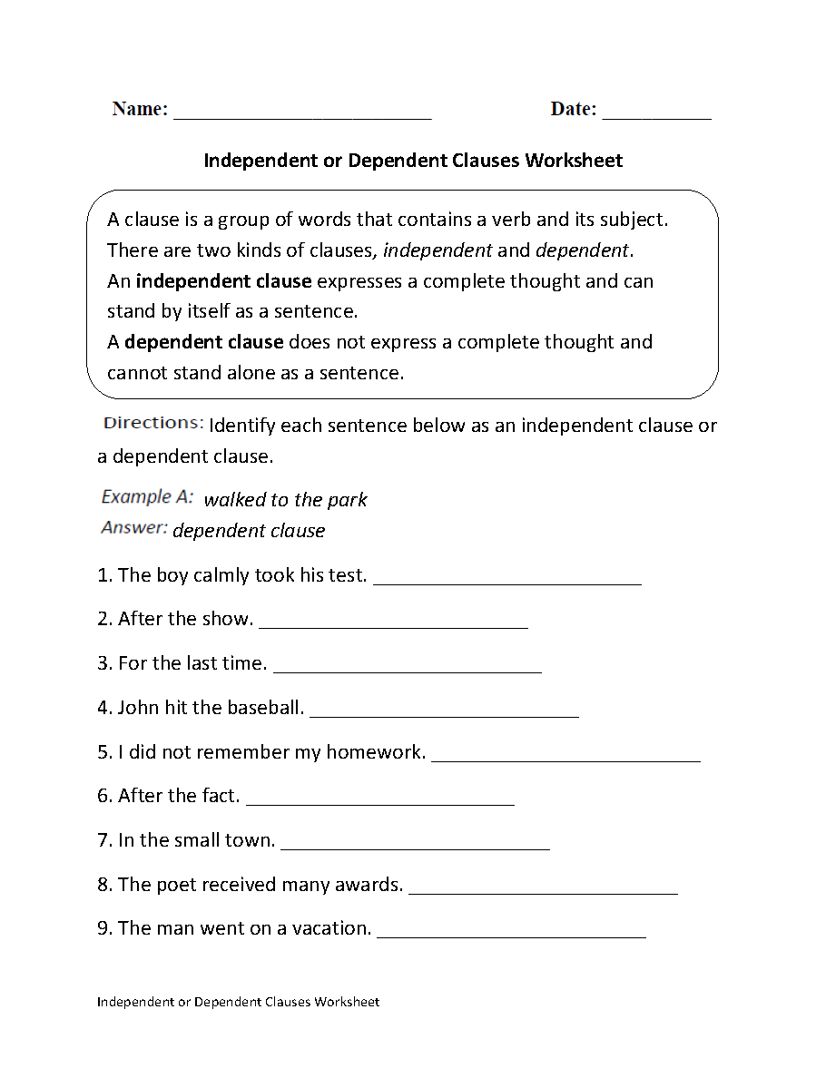 Clauses Worksheets   Identifying Clauses Worksheet   Kindergarten math  worksheets [ 1188 x 910 Pixel ]