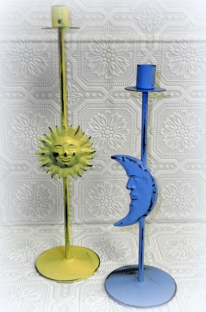 Distressed Sun and Moon Metal Taper Candle Holders #upcycleddecor #creativedecorating