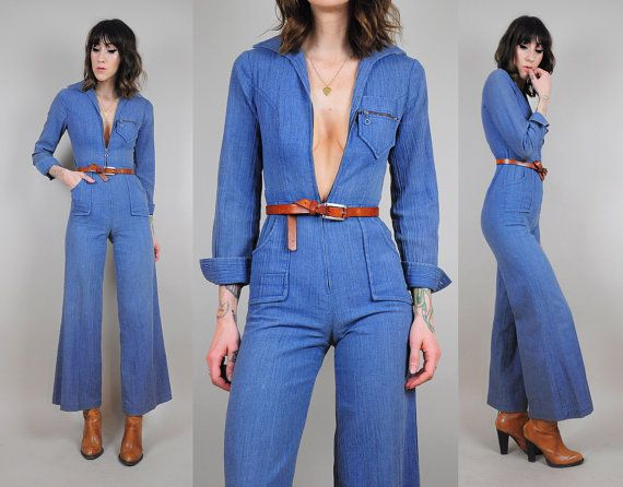 feb8ab12469 DENIM vtg 70 s Bell bottom JUMPSUIT jean pantsuit Pocket Zipper tight  Flared leg hippie