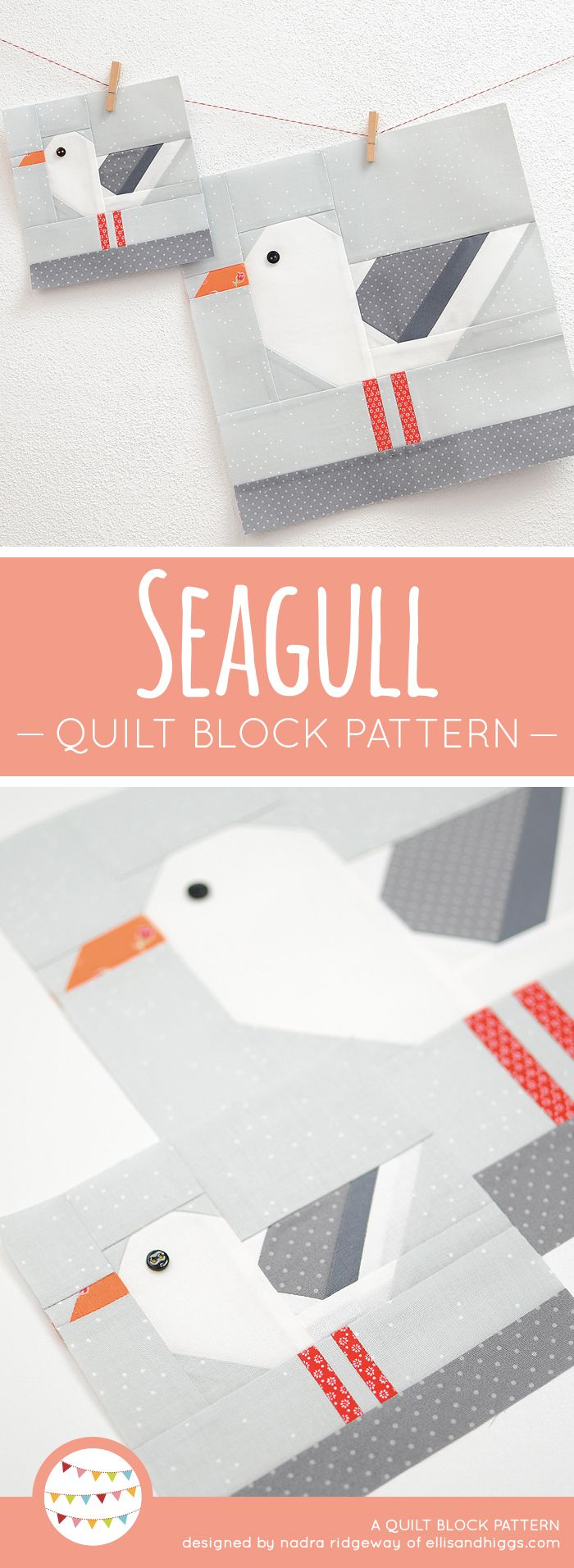 New Nautical Quilt Patterns: Seagull Quilt Block Pattern - ellis & higgs