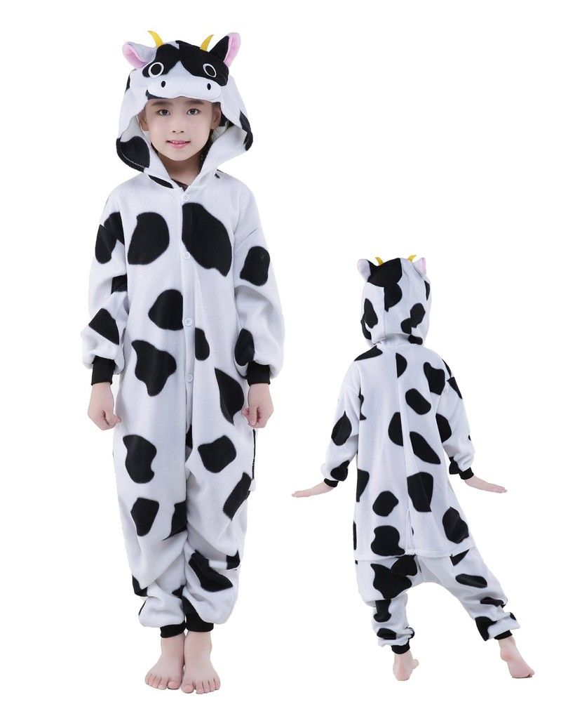 bcdb87da1b29 Cow Onesie Kids Kigurumi Polar Fleece Animal Costumes For Teens in ...