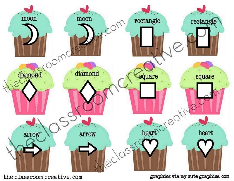 Watermarked File Folder Cupcake Shape Matching Memory Game