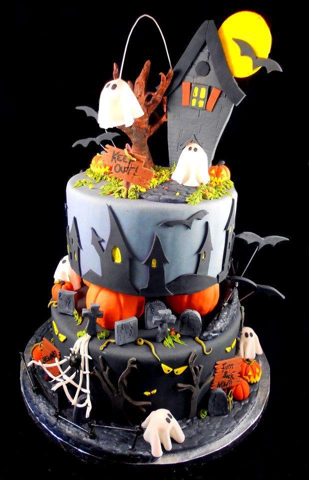 Halloween Cake - love those houses Halloween birthday Pinterest - cake decorations for halloween