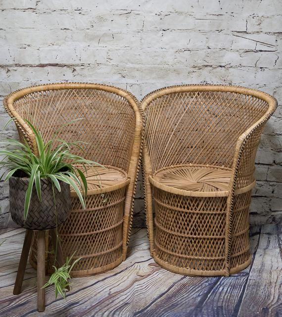 SHIPPING NOT FREE! Set of 2 Vintage  Peacock Chairs/Wicker Accent Chairs/ Barrel Wicker Chairs/ Dining Room Chairs