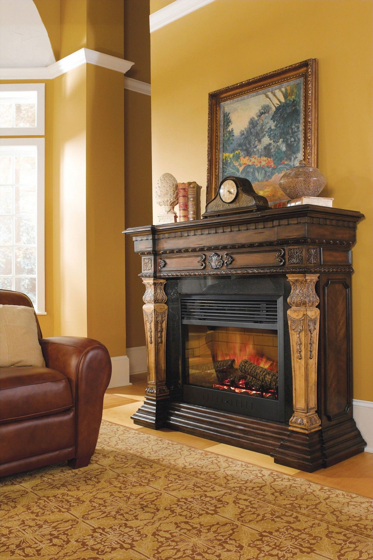 This Handsome Two Tone Electric Fireplace Is Carved From Pine The