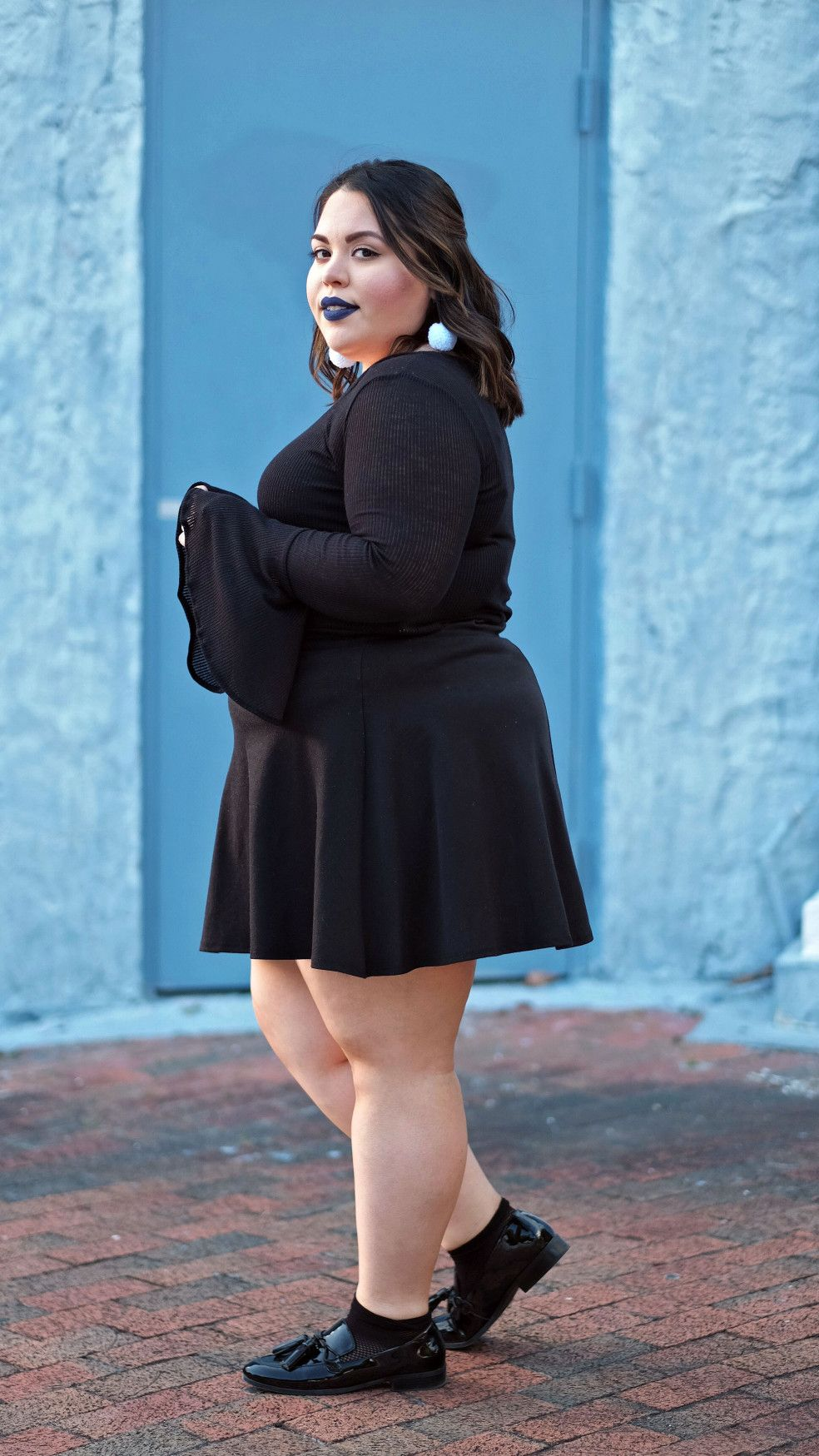 9ff2efe47 Plus Size Style Blogger wearing Forever 21 Plus Bell Sleeve Top and Skater  Skirt, Marc Fisher Loafers