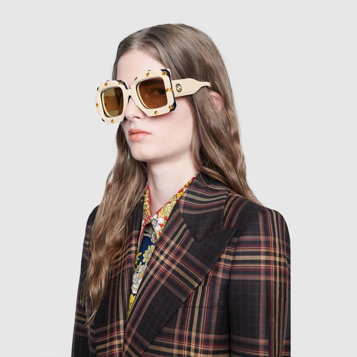 a7b243da73 Shop the Oversize square-frame sunglasses with crystals by Gucci. These  oversize Hollywood Forever sunglasses are crafted from triple layered