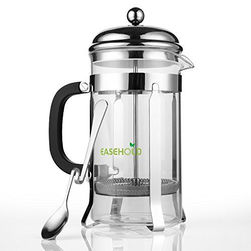 Easehold French Press Coffee Maker Tea Infuser Pot Stainless Steel Filter Durable Borosilicate Glass Carafe Heat Resistant 8 Cups 34 Oz with Bonus Coffee Spoon *** Be sure to check out this awesome product.Note:It is affiliate link to Amazon.