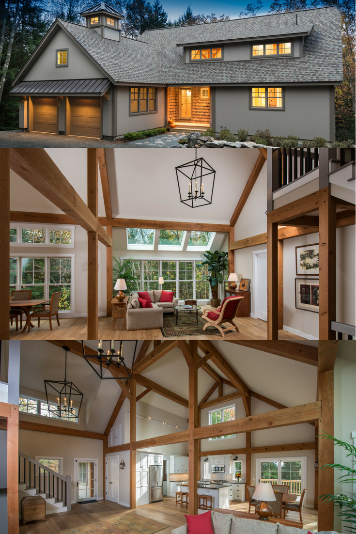 Small post and beam, Eastman House, does not live small - At All! Visit to see more, including floor plans. #smallbarnhomes