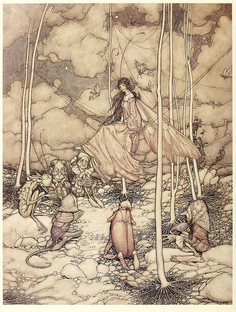 Arthur Rackham - he's one of my favourite fairy tail illustrators, maybe nice to have an image on each table of a different story? Link it to the table plan?