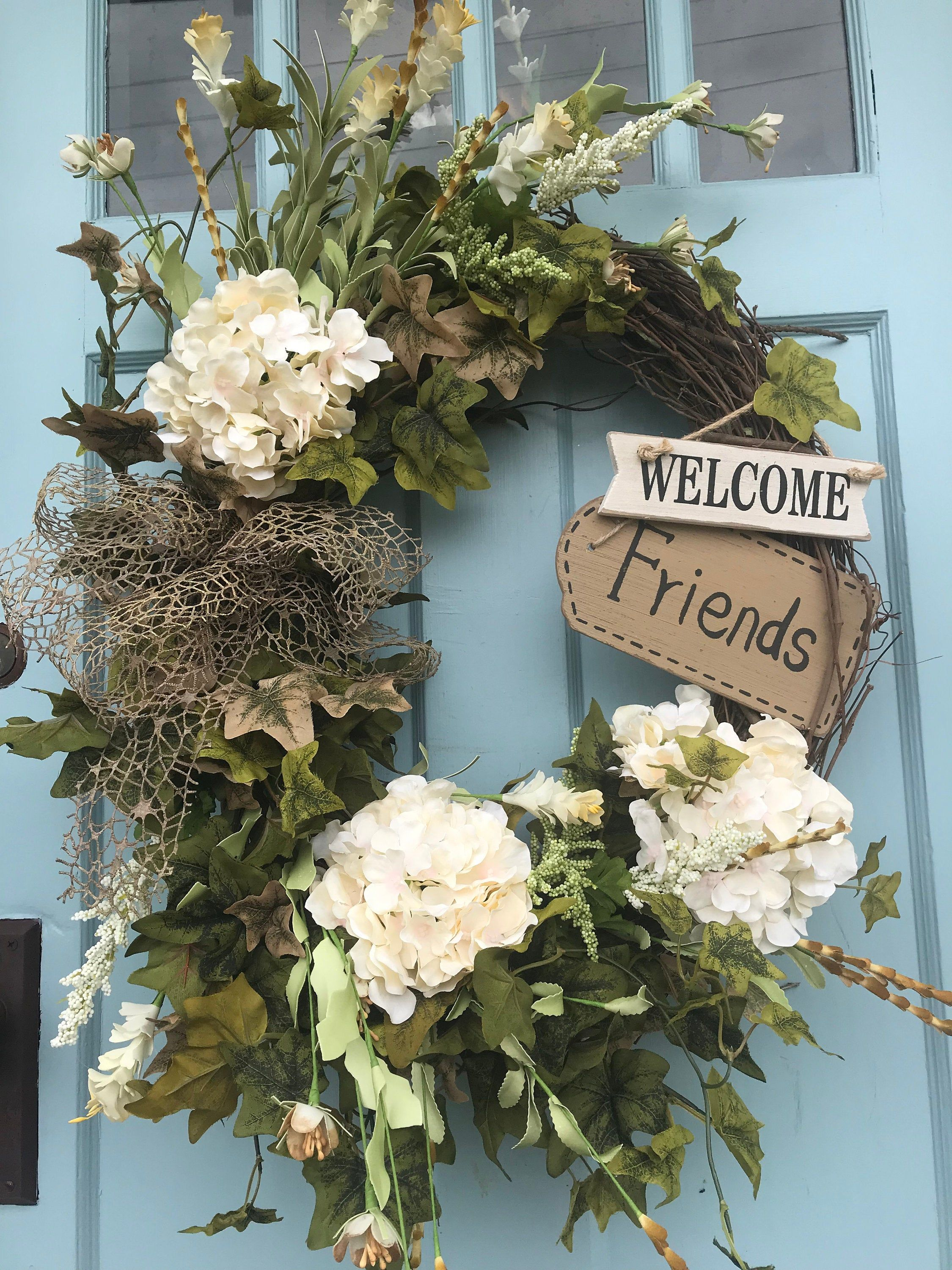 Photo of Beautifully elegant ivory flower wreath for the door. Wreaths, wreaths for front door, farmhouse, Christmas