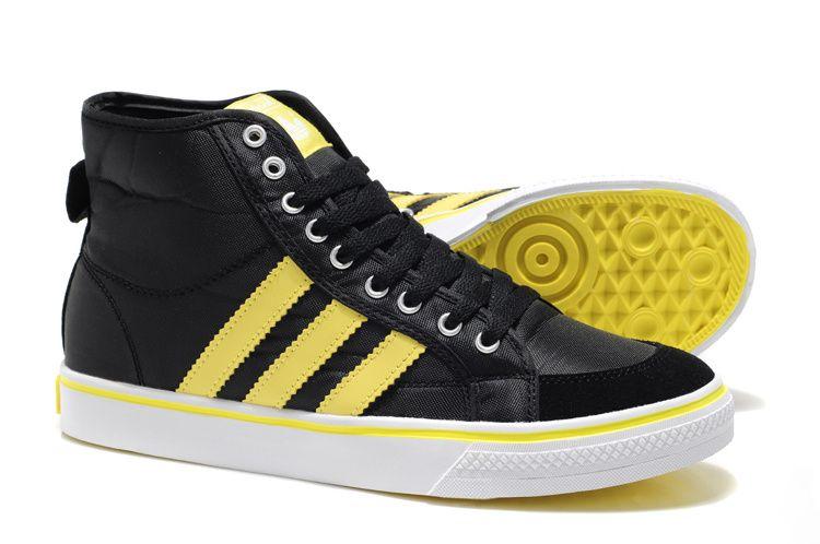 timeless design f7b6d f698d Adidas Originals アディダス オリジナルス ニッツァ Nizza HI ハイ シューズ メンズ 黒 黄色 ADI0189