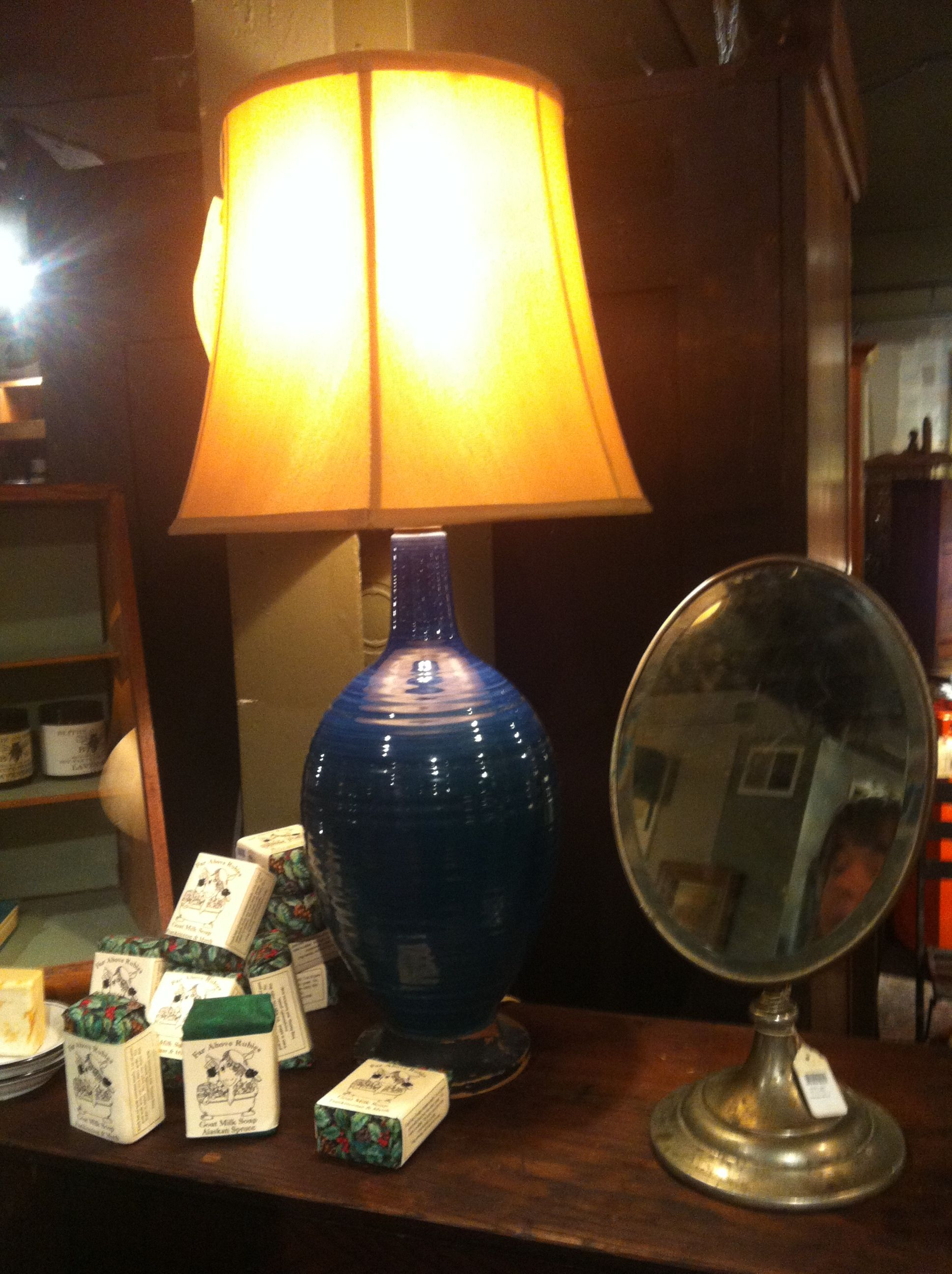 turquoise ceramic lamp from Good Wood in DC