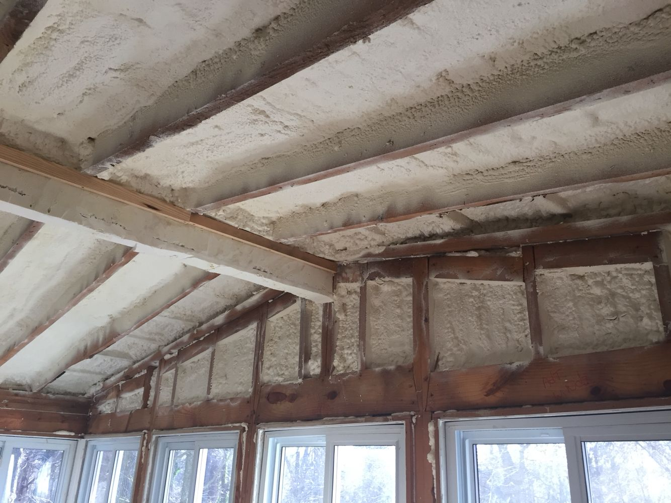 Closed cell spray foam insulation installed on the roof