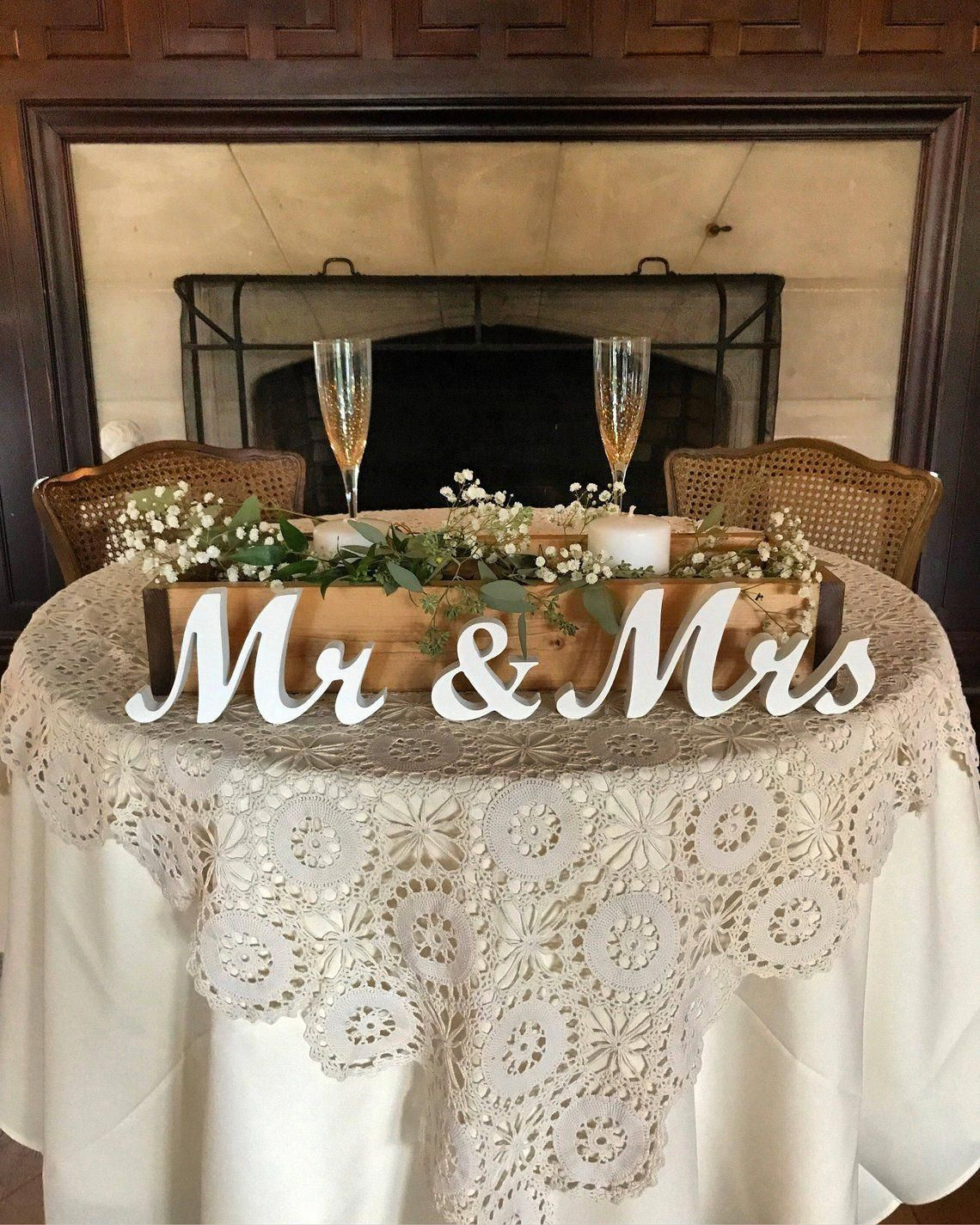 Mr And Mrs Wedding Signs Table Decoration Rustic Wedding Etsy Simple Wedding Decorations Signing Table Wedding Beautiful Wedding Decorations