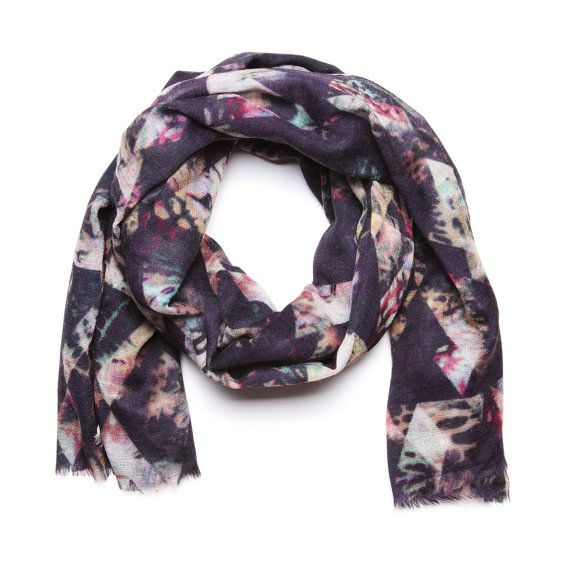 Dark Geometric Leaves Scarf in Wool Silk and Cashmere