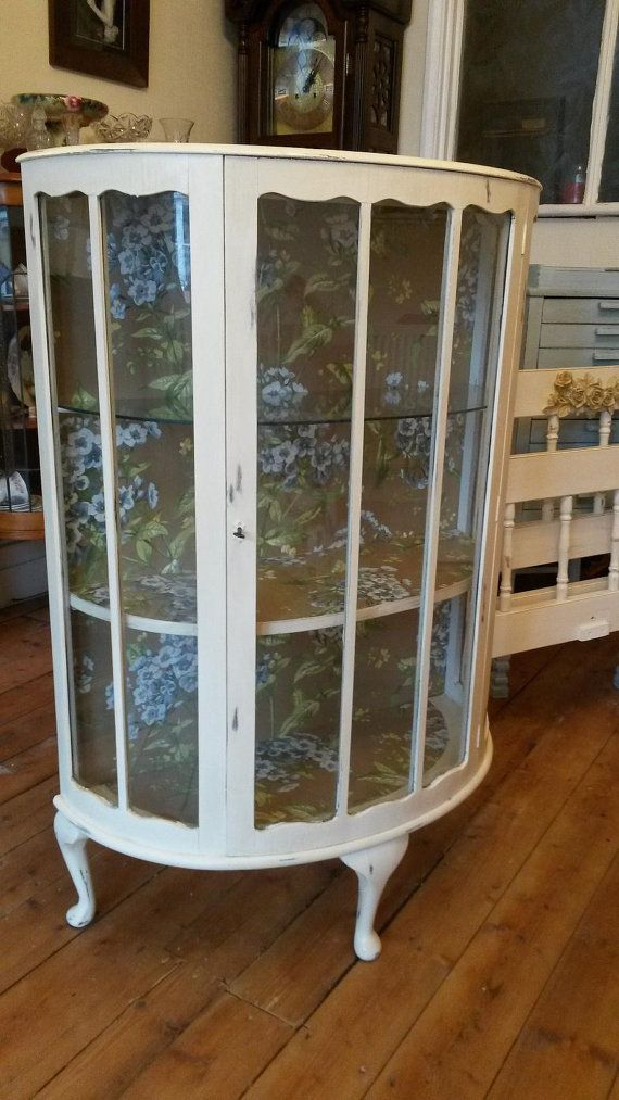 Ivory painted Vintage Shabby Chic Glass Bow Fronted China or Display Cabinet , - 1940s Display/China Cabinet - Glass, Bow-front, Queen Ann Style